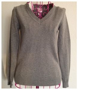 Ambiance Apparel Sweaters - Grey Thin Lightweight Plain Basic V-neck Sweater