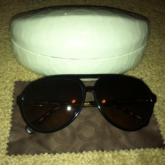 e25bcc4bafbaf Coach Accessories - Coach Black on Tortoise plastic aviator sunglasses