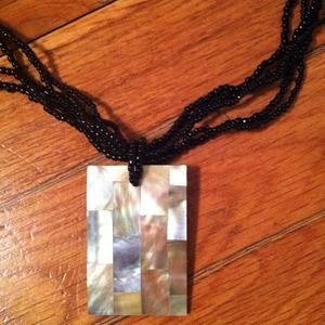 Jewelry - Abalone and black bead necklace