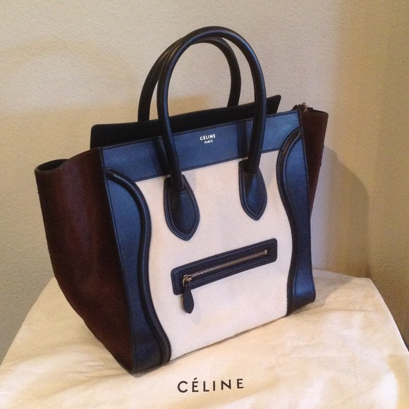 c4e81b65e3 Celine Tri Color Pony Hair Mini Luggage Handbag
