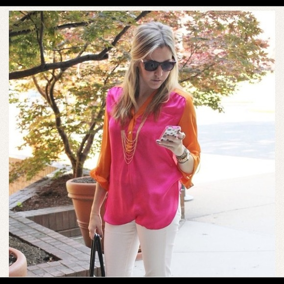 Tops - Pink & Orange colorblock top