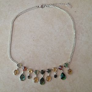 Silver necklace with multicolor stones.
