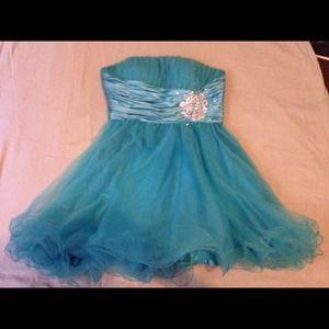 Aqua blue prom dress.