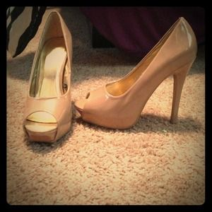 Nude Forever 21 Patent Leather Peep-Toe Pumps