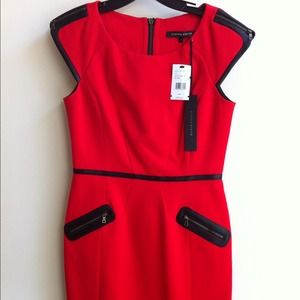 Red w/Black trim Cynthia Steffe Dress, New, Size 4