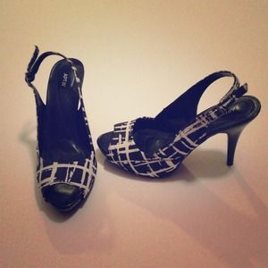 black and white strap heel