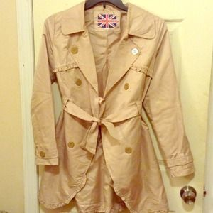 Beige Trenchcoat With Ruffle Details