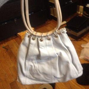 White leather trina turk handbag