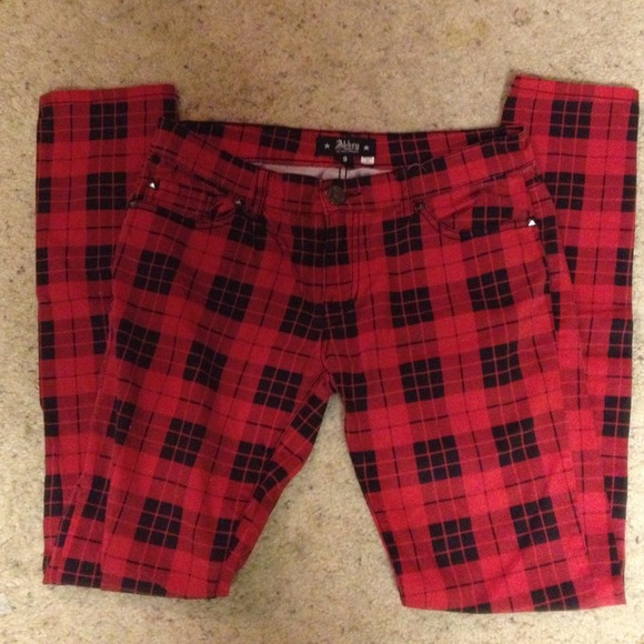 60% off Abbey Dawn Pants - Red and black plaid pants from Tori's ...