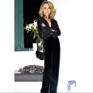 Ann Taylor Black Velvet Pants 8 Formal Evening