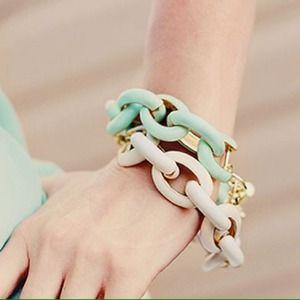 Beige Enamel Link Bracelet