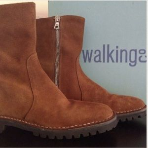 The Walking Co. Shoes - NEW Suede Moto Treaded Boots