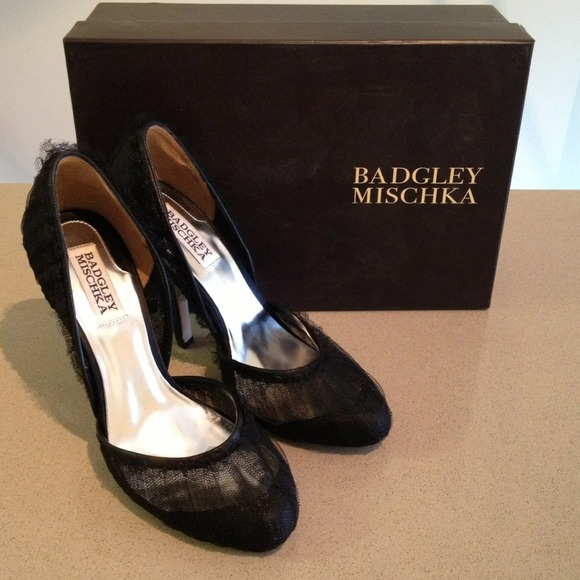 Badgley Mischka Shoes - Badgley Mischka black tulle heels