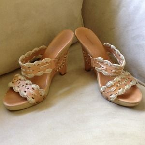 BCBG tan wedge sandals