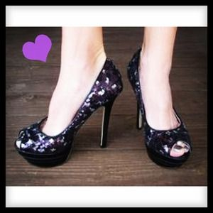 Shoedazzle Shoes - Black and purple sequin peep toes