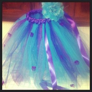 Purple/Teal glitter tutu w/ flower hair band