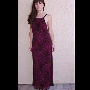 Long Floral Silk Beaded Dress Gatsby Boho holiday