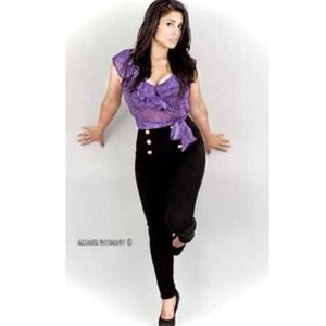 Purple Snake Print Chiffon Top
