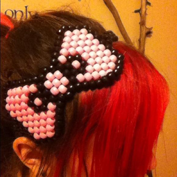 e26c462a4 Accessories | Cute Pink And Black Hello Kitty Kandi Bow Headband ...