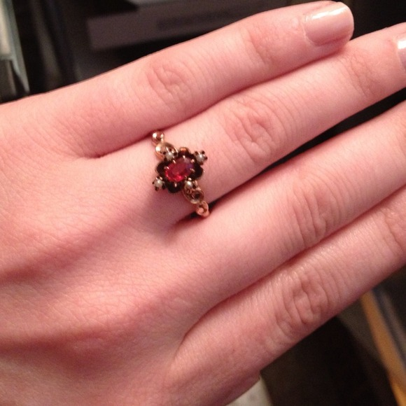 30 off Jewelry Antique Rose Gold Victorian Garnet Seed Pearl Ring