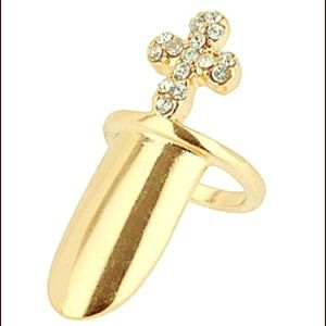 Gold with cross Nail Ring