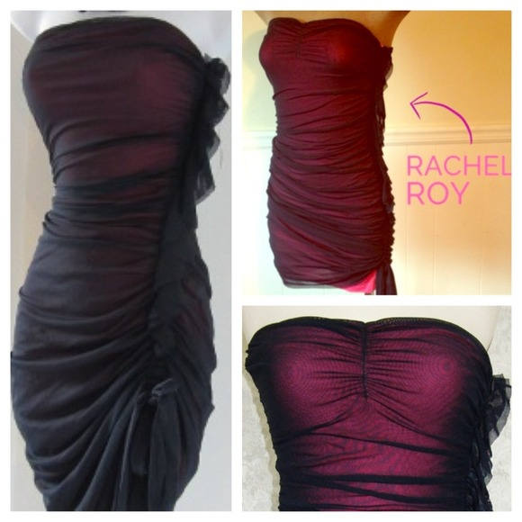 b9bb02fb8a9ff NEW Rachel Roy Mesh Tube Dress (Navy / Hot Pink). M_52eef57e0fb6cd05d10ede99