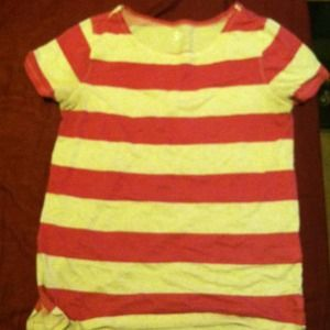 Sophomore Tops - XL pink & white striped shirt
