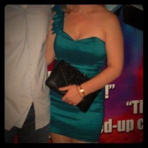 Dresses & Skirts - Blue-green one shoulder dress