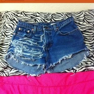 High waist distressed shorts 