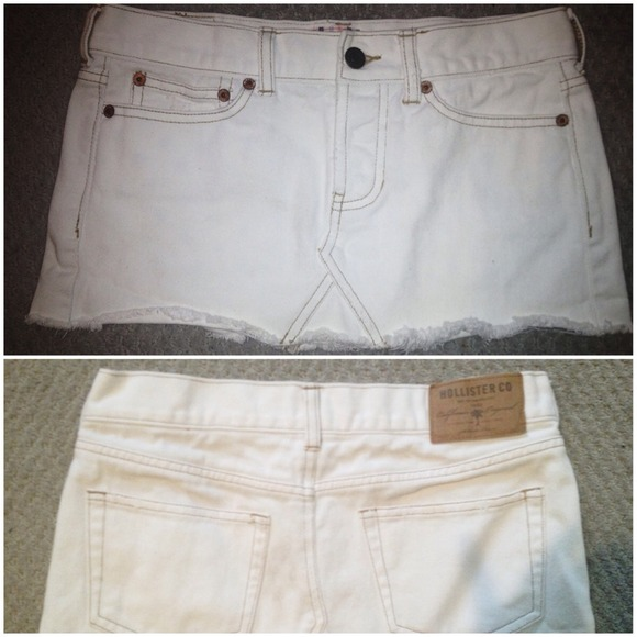 80% off Dresses & Skirts - Hollister white denim mini skirt ...