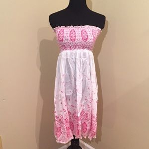Other - NWOT Pink-White Floral Linen Swimsuit Cover Up