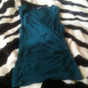 Very Flattering BeBe  Emerald green blouse pleated