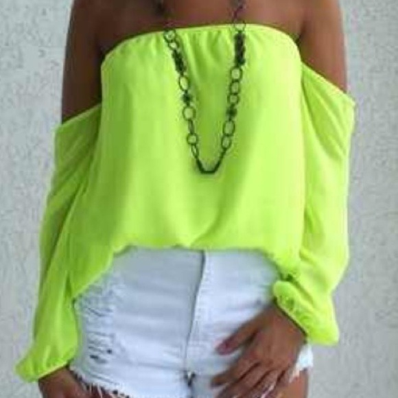Neon yellow dress tops