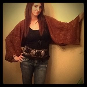 Brown and gold poncho.