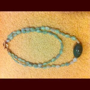 Turquoise bead with contrast green bead necklace