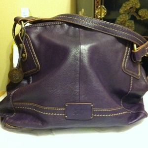 the SAK purple leather purse