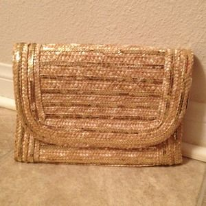 Cute Straw and Gold Sequin Clutch for Summer!
