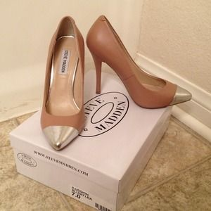 Blush Leather Silver Cap Toe Pointed Toe Pumps