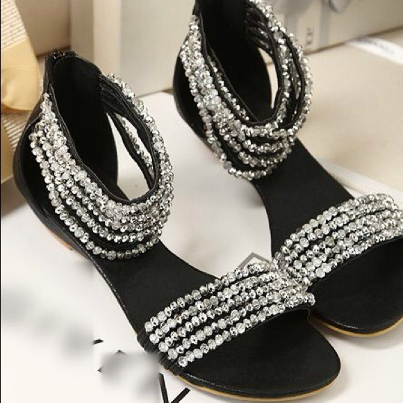29877bfd9 Cute Trendy Sparkly Sandals in Black