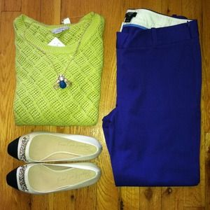 LOFT chartreuse crochet sweater