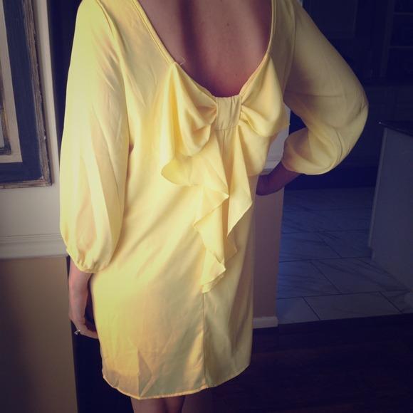 Yellow bow back dress
