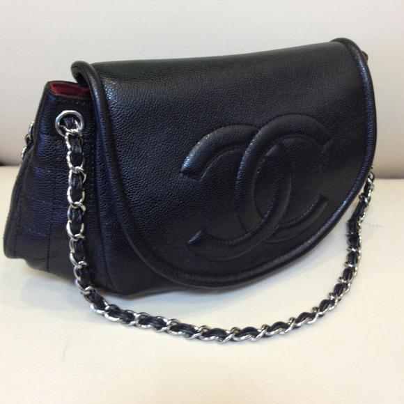 bbe3ba169e3a CHANEL Bags | Black Caviar Xl Half Moon Flap Handbag | Poshmark