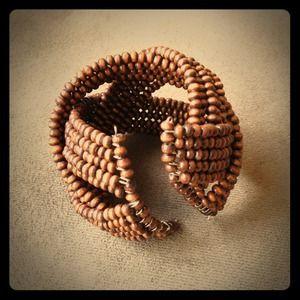 Brown wood bead bracelet