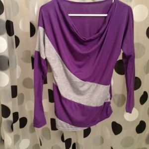 Purple shirt with gray stripes