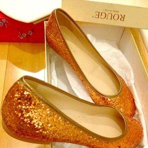 Shoes - Glitter rose gold Italian ballet flats!  So pretty