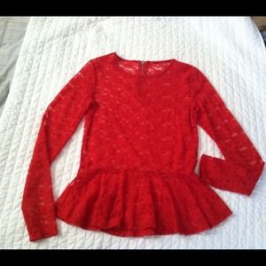Red peplum lace top