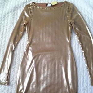 Gold studded bodycon dress no trades