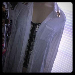 Tops - White Cardigan/shirt