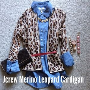 J. Crew Sweaters - lightweight jcrew leopard cardigan with satin trim