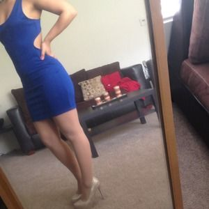 Cut out blue dress